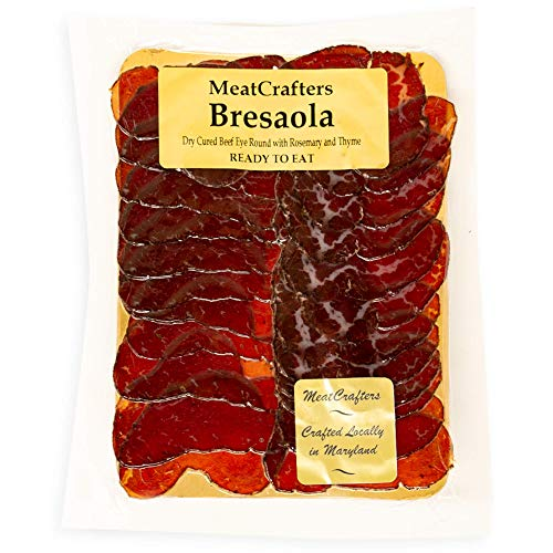 beef eye of round steaks MeatCrafters Sliced Bresaola, Dry Cured, Antibiotic Free, All Natural Beef Eye Round, 8oz (4-Pack)