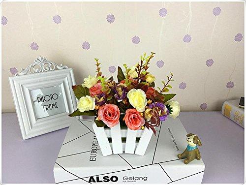 Jianbo123 2018 Houten omheining roos zijde bloem pastoral (zeer veel kleur) imitatie fake bloem pot woonkamer kantoor isolatie decoratieve bloem kunstbloem plant, J