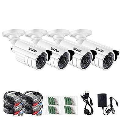 ZOSI 720P HD-TVI Home Surveillance Camera System,4PCS Indoor/Outdoor Weatherproof Security CCTV Camera with Infrared and Night Vision