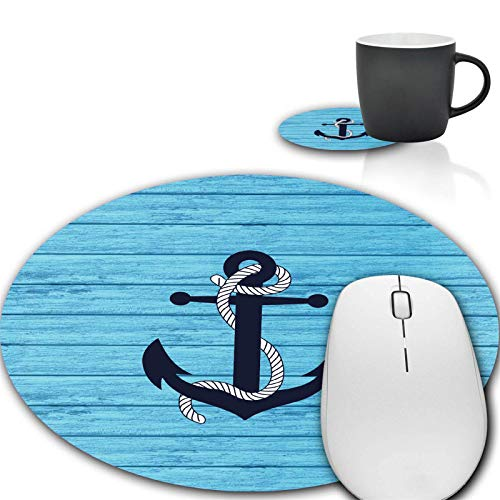 Mouse Pad and Coffee Coaster, Rustic Wood and Nautical Anchor Mousepad Non-Slip Rubber Gaming Mouse Pad Round Mouse Pads for Computers Laptop