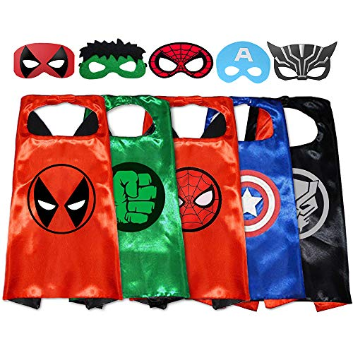 GREAMBABY Superhero Capes with Masks Dress up Costumes Halloween Christmas Cosplay Birthday Party Favors for Kids (DeathPool 5 Set)