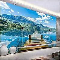 Lcymt カスタム壁画壁紙部屋青空白い雲木製橋湖水自然風景画壁画-350X250Cm