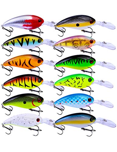 Facikono Crankbait Set Crappie Lures Bass Fishing, 12pcs Hard Topwater Swimbait 3.94inches Fishing Gifts for Men