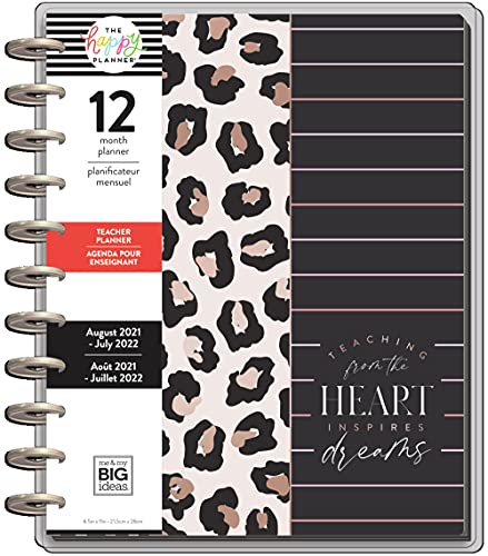 The Happy Planner BIG Sized 12 Month Teacher Planner - Inspire Dreams - Animal print Theme - August 2021 - July 2022 - Teacher Layout - Monthly & Weekly Disc-Bound Pages - 10.12