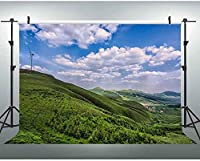 NEW JSCTWCL自然の風景の背景田園風景グリーンヒルサイド青い空と白い雲フォトスタジオの小道具10x7Ft279