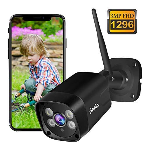 Überwachungskamera Aussen WLAN IP Kamera, Rinnin 3MP/1296P Verdrahtet Außen Überwachungskamera mit Flutlicht, Farbnachtsicht, Zwei-Wege-Audio, IP66 Wasserdicht, Bewegungserkennung, Push-Warnungen