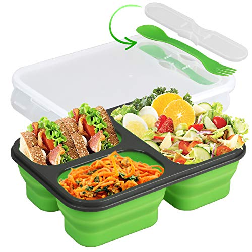 Collapsible Silicone Bento Box—3-Compartment Eco Silicone Collapsible Bento Lunch Box Kit-BPA Free, Safe in Microwave, Dishwasher & Freezer (Green)