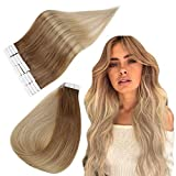 Easyouth 50cm Seamless Tape in Hair 50g Color 10/14 Golden Brown Mix con Dark Blonde Balayage Extensiones de Cabello Adhesivas Blonde Extensions for Women