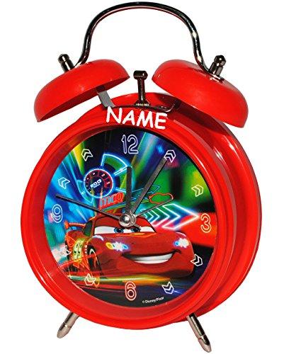 alles-meine.de GmbH Kinderwecker -  Disney Cars - Lightning McQueen - Nitro  - incl. Name - für Kinder - großer Wecker - Metall / Kunststoff - für Jungen - Analog - Quarzwecker..