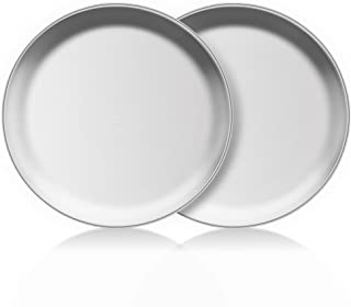 TeamFar Pizza Pan, 10 inch Pizza Pans Pizza Tray Stainless Steel for Oven Baking, Non Toxic & Healthy, Heavy Duty & Dishwasher Safe - 2 Pack