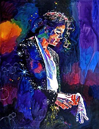 Kit de Bordado de Diamantes 5D Para Manualidades Diamantes Michael Jackson Estilo Punto de Cruz Decoración Para la Pared del Hogar 11x15inch(30x40cm)
