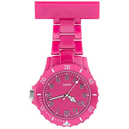 Taffstyle Farbige Krankenschwesteruhr Schwesternuhr Kitteluhr Pflegeruhr mit Nadel Damen Silikon Analog Quarz Uhr Pink
