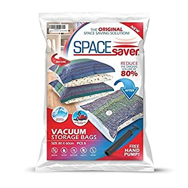 Space Saver Premium Large Vacuum Storage Bags (Works With Any Vacuum Cleaner + FREE Hand-Pump for Travel!) Double-Zip Seal and Triple Seal Turbo-Valve for 80% More Compression! (5 Pack)