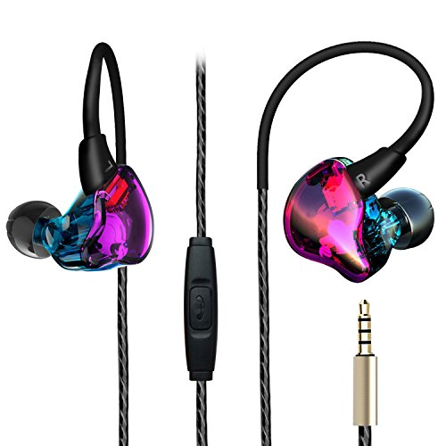 Over Ear Earbuds, Running Sport in Ear Buds Bass Noise Isolating Colorful Headphones with Flexible Earhook and Mic for Teen Young Youth Wired Earphones for Gym Workout Exercise Jogging