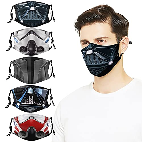 5pcs Darth Vader Face Cover Mask with 10 Fil-ters Reusable Washable...