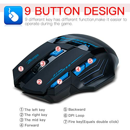 Wireless Gaming Mouse,Songway 2.4G USB Mice Optical with USB Receiver,LED Light,2400DPI,9 Buttons for Laptop,Computer,Desktop,PC,Mac,Gaming Player - Best Wireless Gaming Mouse Under 50 Dollars