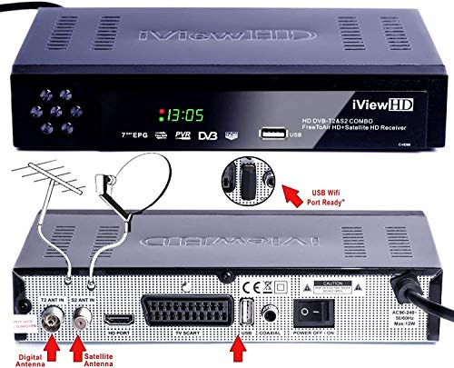 FULL HD COMBO Freeview HD + Satellite Receiver Compatible for FreeSat and Sky Dish Records by a USB Memory stick.