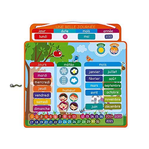 Janod - Agenda Magnétique Une Belle Journée - Calendrier Enfant Educatif - 67 Magnets - dès 3 Ans, J02972