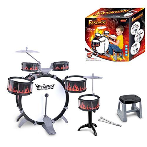 Teakpeak Kinder Schlagzeug Spielzeug, Schlagzeug Lernen Kinderschlagzeug ab 3 Jahre mit Schlagzeug Hocker Kinder