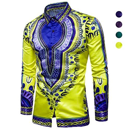 X&Armanis Herbst Freizeithemd für Herren, Baumwollmischung im indischen Stil bedrucktes Hemden Revers Langarm Shirt,1,XL