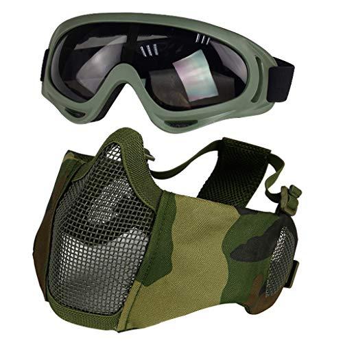 Airsoft-Maske mit Brille, Faltbare Halbgesichtsmaske mit Ohrenschutz für Paintball-Schießen, Cosplay, CS-Spiel (Grün)