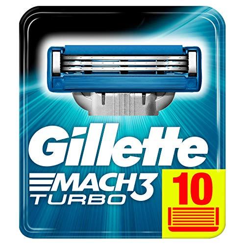 Gillette Mach3 Turbo Lamette di Ricarica per Rasoio da Uomo, Confezione da 10 Lamette di Ricambio