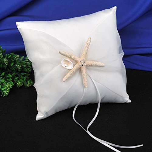 AWEI Wedding Ring Bearer Pillow - Beach Theme Ivory Wedding Ring Holder with Starfish