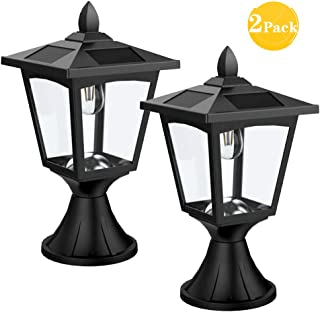 Solar Post Lights Outdoor, Solar Lamp Post Lights for Pathway, Driveway, Front/Back Door, Pack 2