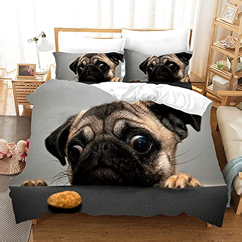 Cute Pug Dog Set Copripiumino Per Bambini E Bambine Copripiumino Con Federa,3D Funny Animal Grey Copripiumino Singolo Matrimoniale King Size Morbida Microfibra