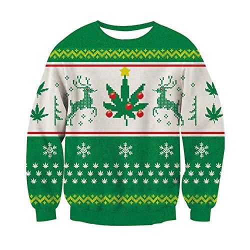 Suéter de Navidad, RAISEVERNUnisex Blanco Snowflake Imprimir Hipster Novedad Crewneck Ugly Xmas Sweatshirt Top Camisas Grandes