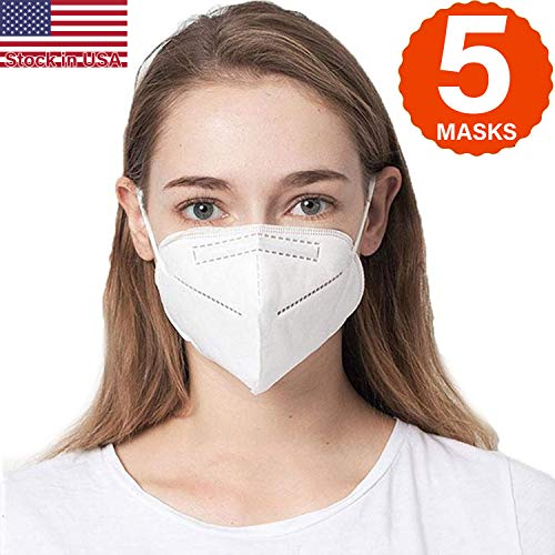 COOLINKO 5 Layers 95% Filtration Mask White Headgear - Liquid and Dust Proof Face Protection (5 Masks)