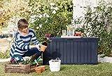 Keter Comfy Baule in Resina Formato da Pannelli con Effetto Legno da 270 L, Marrone, 116.7 x 44.7 x 57 cm