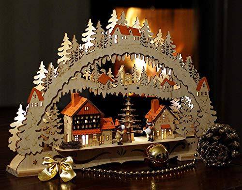 Wichtelstube-Kollektion LED Schwibbogen Weihnachtsstadt Original Schwippbogen Lichterbogen