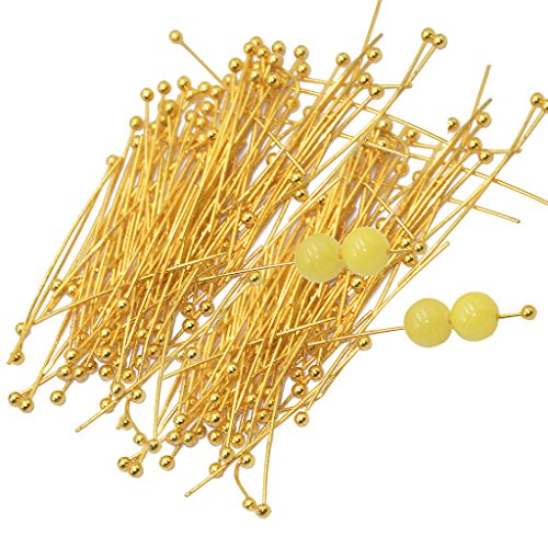 Sharplace 200pcs 30mm Licht Goldenen Messing Kugelbolzen Kopfstifte Kettelstifte Nietstift Nietstifte Schmuck Erkenntnisse Headpins