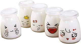 comprar comparacion BESTONZON 5pcs 150ml botella de vidrio de leche porción de taza con tapas para jalea yogur mousses patrón aleatorio