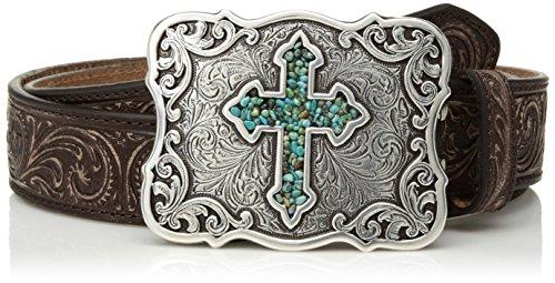 Nocona Belt Co. Women's Inlay Turquoise Cross Buckle Belt, brown, Medium
