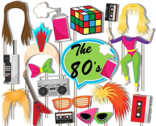 Birthday Galore 80's Totally Awesome Photo Booth Props Kit - 20 Pack Party Camera Props Fully Assembled