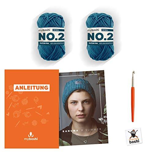 myboshi Häkel-Set | Sommer-Mütze Kanuma | aus No.2 | Anleitung + Wolle | mit passender Häkelnadel | Hipster-Mütze | Petrol