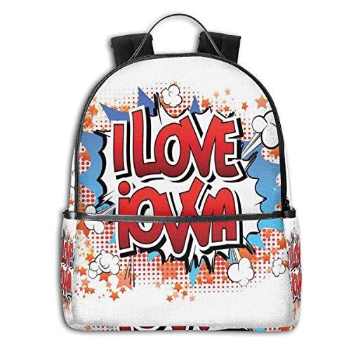 GULTMEE College-Rucksäcke für Damen, Mädchen, I Love Jui Jitsu, modernes Typographie-Design mit Herz-Ikon, lässiger Wanderrucksack Multicoloured-5 Einheitsgröße