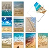 NobleWorks, 10 Blank Cards Assortment - Assorted Boxed Note Cards with Envelopes - Life's a Beach AC6328OCB-B1x10