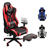 Ergonomic Big and Tall Gaming Chair with Footrest, Video Game Chair with Adjustable Headrest and Lumbar Support, 400LBS Computer Racing Chair, High Back Office PC Chairs for Adults and Teens Red