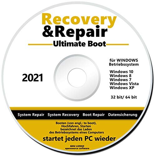 Recovery & Repair CD/DVD für Windows 10 bis XP NEU PC Reparatur Ultimate Boot