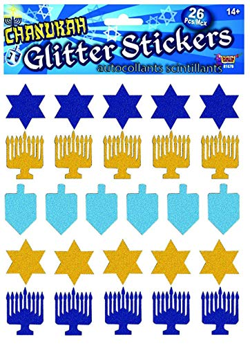 Forum Novelties 81678 Hanukkah Glitter Stickers-26 Pcs, Multi-Color, As Shown, 4.2 x 0.1 x 5.6'
