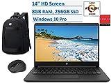 2020 HP Premium 14 inch HD Laptop, AMD Athlon Silver 3050U (Beat i5-7200U), up to 3.2GHz, 8GB RAM, 256GB SSD, Jet Black Color, HDMI, Webcam, WiFi, Windows 10 Pro, Computer Backpack & Mouse Bundle