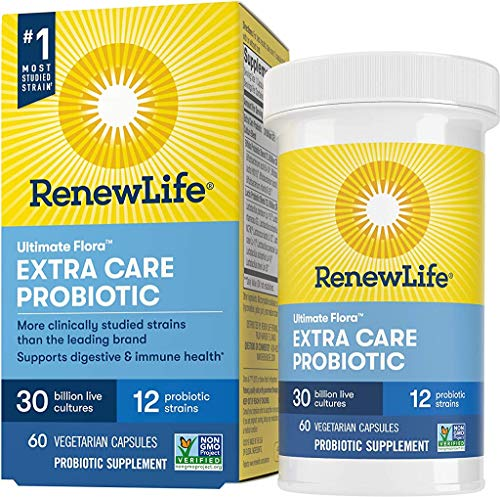 Renew Life Adult Probiotics 30 Billion CFU Guaranteed, 12 Strains, For Men & Women, Shelf Stable, Gluten Dairy & Soy Free, 60 Capsules, Ultimate Flora Extra Care