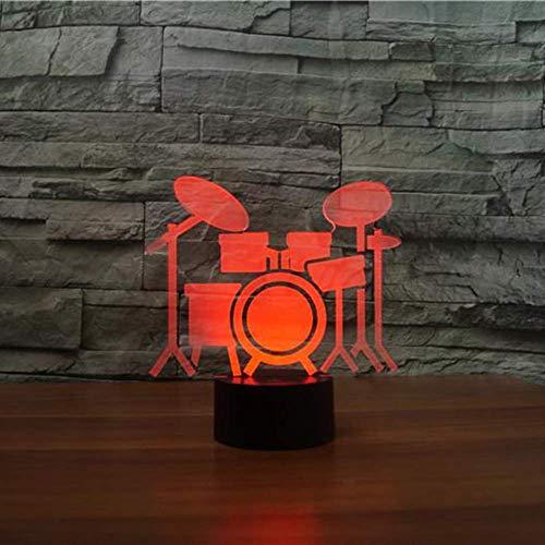 Dormitorio Oficina Decoración del hogar 7 Usb colorido 3d Led Drum Rack Forma Luz de noche Sensor táctil Escritorio Lámpara de mesa Kid