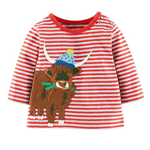 JERFER Karikatur Streifen Herbst Langes Hülsen Shirt Tops Neugeborene Babykleidung Kleinkind Bluse Sweatshirt Babykleider Mädchen Junge Rundhals Langarmshirts 1.5-6 Jahre (Rot, 4T)