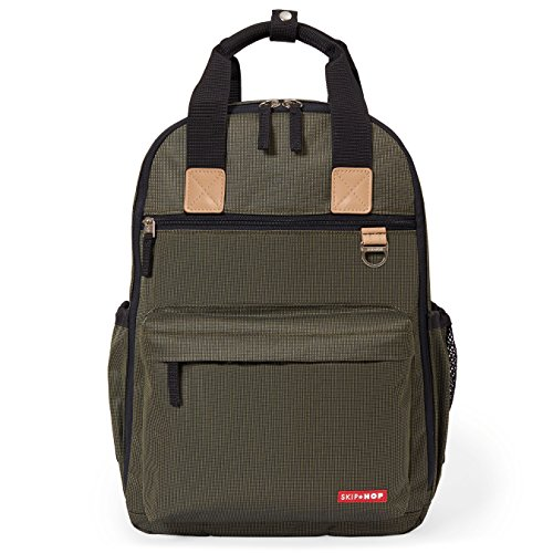 Skip Hop Diaper Bag Backpack with Matching Changing Pad, Duo Signature, Olive Mini Grid