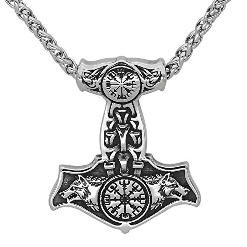 GuoShuang Nordic Viking Stainless Steel Thor Mjolnir Odin Wolf Vegvisir Pendant Necklace with Valknut Gift Bag¡­