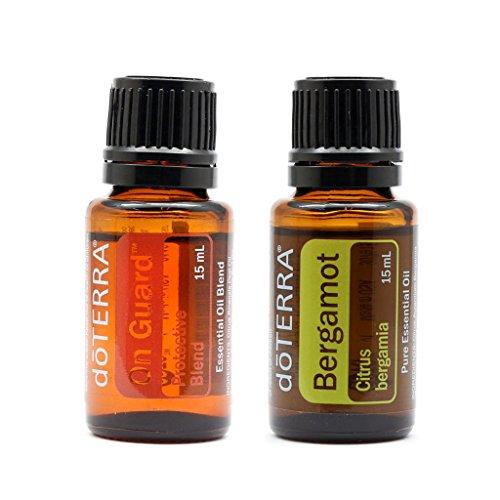 DoTERRA On Guard - Aceite esencial de 15 ml + aceite esencial de bergamota de 15 ml, juego de 2 aceites esenciales 100% de aromaterapia terapéutica natural para difusión y uso tropical